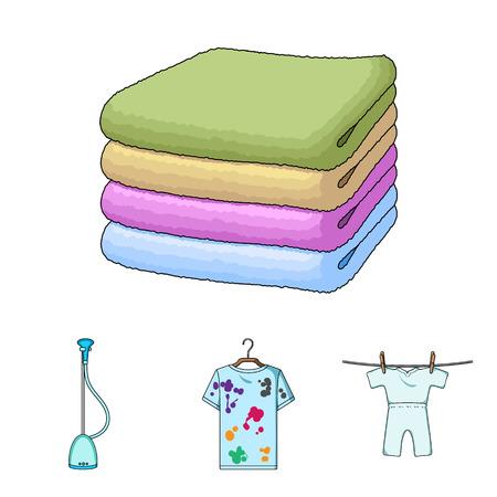 진공 청소기, 헝겊의 스택, 더럽고 깨끗한 것들. 드라이 클리닝 세트 만화 스타일에서 컬렉션 아이콘 벡터 기호 재고 일러스트 웹.