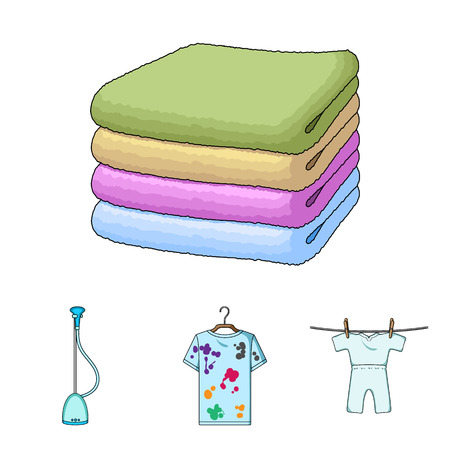 Vacuum cleaner, a stack of cloth, dirty and clean things. Dry cleaning set collection icons in cartoon style vector symbol stock illustration web.