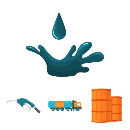 Truck with a cistern, barrels of fuel, a refueling gun, a drop of oil. Oil industry set collection icons in cartoon style vector symbol stock illustration web.