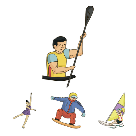 Snowboarding, sailing surfing, figure skating, kayaking.  sports set collection icons in cartoon style vector symbol stock illustration web.