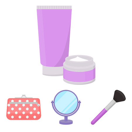 woman mirror: Table mirror, cosmetic bag, face brush, body cream.Makeup set collection icons in cartoon style vector symbol stock illustration web.