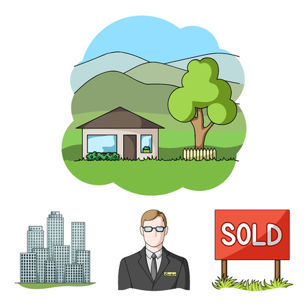 house logo: Employee of the agency, sold, metropolis, country house. Realtor set collection icons in cartoon style vector symbol stock illustration web.