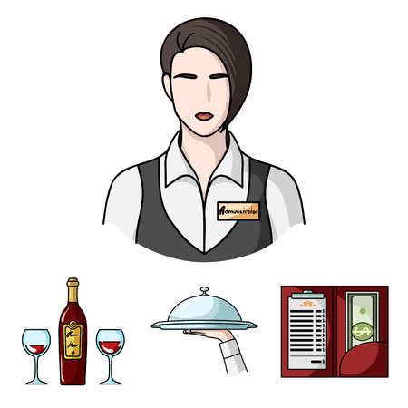 A tray with a cloth, check and cash, a bottle of wine and glasses, a waitress with a badge. Restaurant set collection icons in cartoon style vector symbol stock illustration web. Illustration