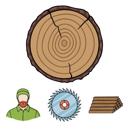 Circular saw, a working carpenter, a stack of logs. A sawmill and timber set collection icons in cartoon style vector symbol stock illustration web.