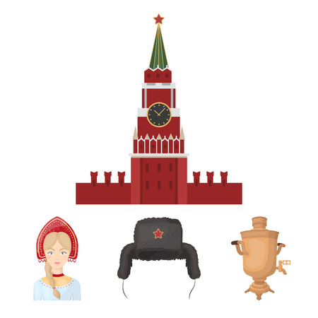 Clothes, woman, kremlin, building .Russia country set collection icons in cartoon style vector symbol stock illustration web.