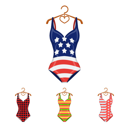 Different kinds of swimsuits. Swimsuits set collection icons in cartoon style vector symbol stock illustration web. Illustration