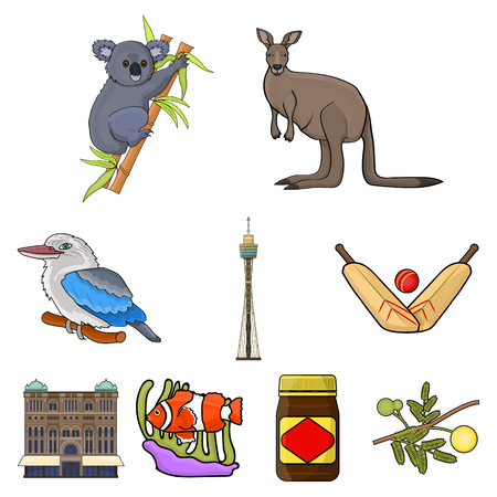 National symbols of australia. Web icon on Australia theme.Australia icon in set collection on cartoon style vector symbol stock illustration.