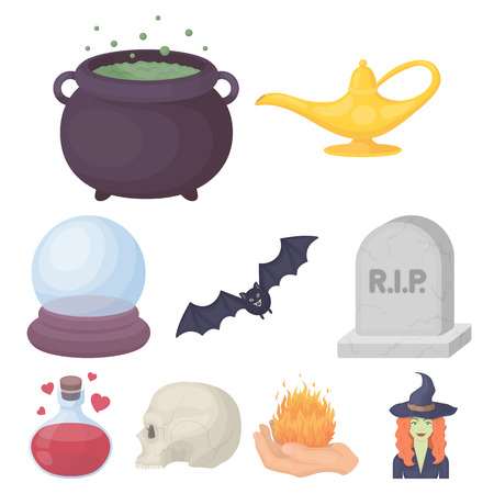 tombstones: Black and white magic set icons in cartoon style. Big collection of black and white magic vector symbol stock illustration Illustration