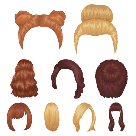 Quads, blond braids and other types of hairstyles. Back hairstyle set collection icons in cartoon style vector symbol stock illustration web. Illustration