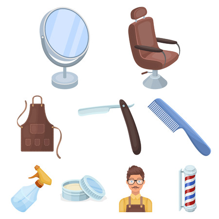 Male barber, symbol, clipper and other equipment for hairdressing.Barbershop set collection icons in cartoon style vector symbol stock illustration web.