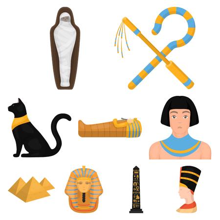 Oude Egypte stel pictogrammen in cartoon stijl. Grote inzameling van de oude vectorillustratie van de het symboolvoorraad van Egypte