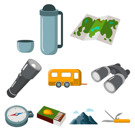 Camping set icons in cartoon style. Big collection of camping vector symbol stock illustration