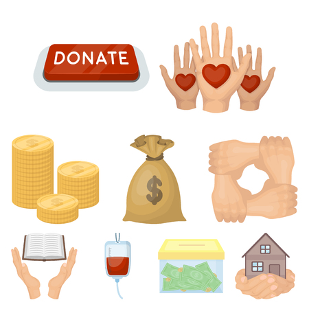 Charitable Foundation. Icons on helping people and donation.Charity and donation icon in set collection on cartoon style vector symbol stock illustration. Stock Illustratie
