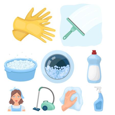 Reinigung, Waschen und alles damit verbunden. Eine Reihe von Icons für die Reinigung. Reinigung und Magd Icon in Set Sammlung auf Cartoon-Stil Vektor-Symbol stock Illustration.