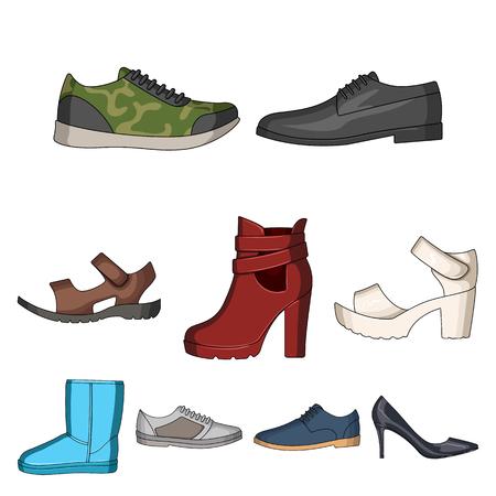 Eine Reihe von Icons auf eine Vielzahl von shoes.Different Schuhe einzigen Symbol in Cartoon-Stil Vektor-Symbol stock Illustration.