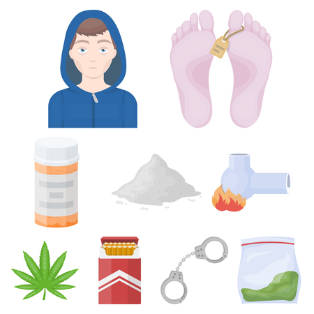 Drugs set icons in cartoon style. Big collection of drugs vector symbol stock illustration