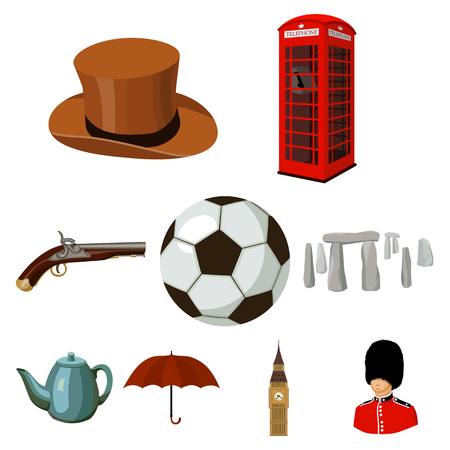 England country set icons in cartoon style. Big collection of England country vector symbol stock illustration