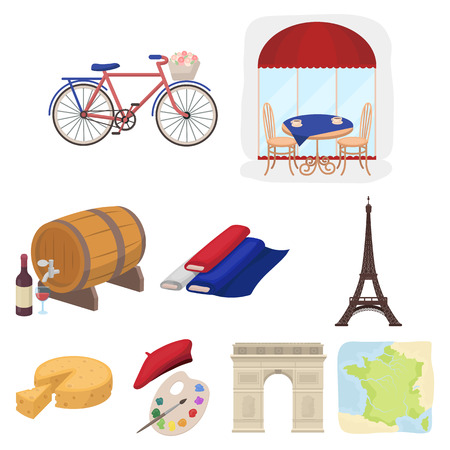 Attractions in France. Things to learn about France. France country icon in set collection on cartoon style vector symbol stock illustration.