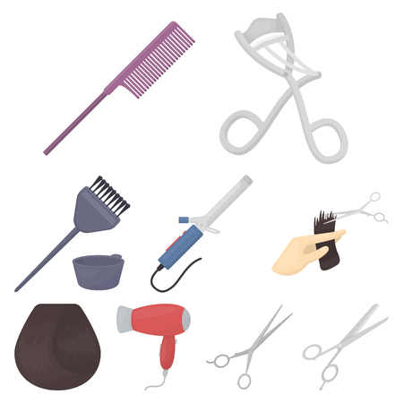 Hairdresser set icons in cartoon style. Big collection of hairdresser vector symbol stock illustration Illustration