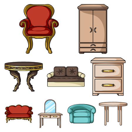Meubels en home interieur set pictogrammen in cartoon stijl. Grote inzameling van meubilair en de voorraadillustratie van het huis binnenlandse vectorsymbool