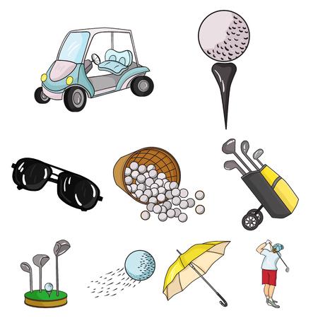 Golfclub vastgestelde pictogrammen in beeldverhaalstijl. Grote inzameling van de voorraadillustratie van het golfclub vectorsymbool Stock Illustratie