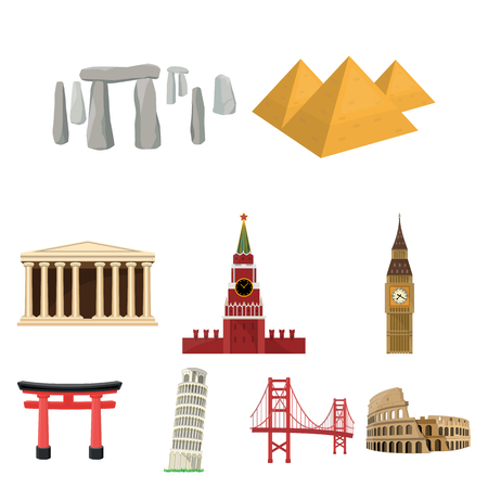 rom: Sights of the countries of the world. Famous buildings and monuments of different countries and cities. Countries icon in set collection on cartoon style vector symbol stock illustration.