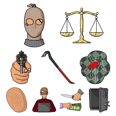 Crime set icons in cartoon style. Big collection of crime vector symbol stock illustration Иллюстрация