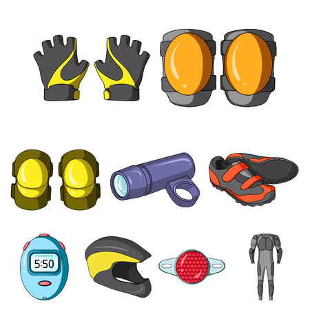 Icons of Cycling, bike. Set for bike, backpack protection, repair, form. Cyclist outfit icon in set collection on cartoon style vector symbol stock illustration.