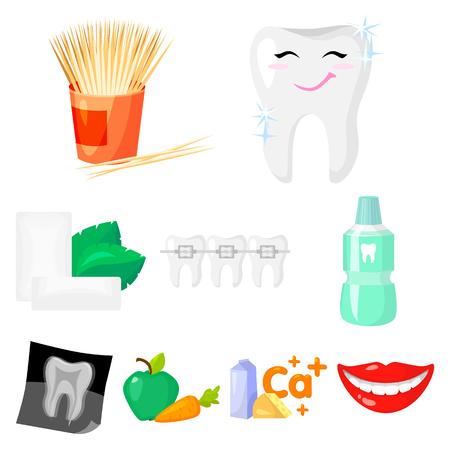 치과 치료 만화 스타일의 아이콘을 설정합니다. 치과 치료 벡터 기호 재고 일러스트의 큰 컬렉션