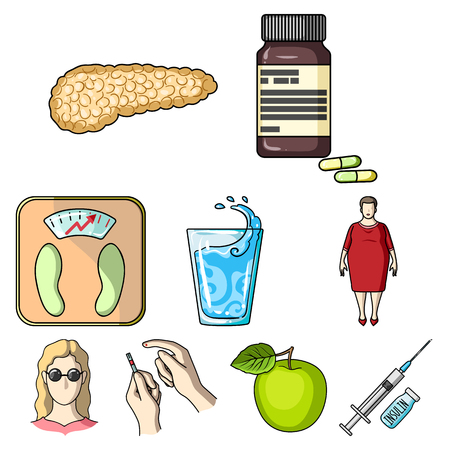 A set of icons about diabetes mellitus. Symptoms and treatment of diabetes. Diabetes icon in set collection on cartoon style vector symbol stock illustration. Illustration