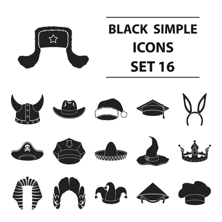 black wigs: Hats set icons in black style. Big collection hats vector symbol stock illustration