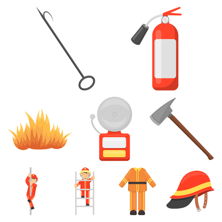 pike: Fire department set icons in cartoon style. Big collection of fire department vector symbol stock illustration