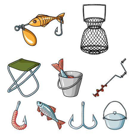 Summer and winter fishing, outdoor recreation, fishing, fish.Fishing icon in set collection on cartoon style vector symbol stock illustration. Illustration