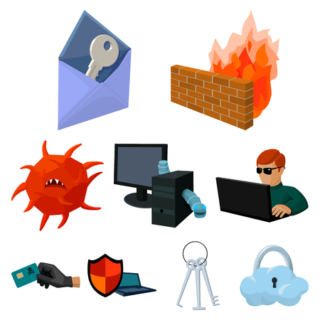 A selection of icons about protection and breaking. Modern technology of protection against breaking. Hackers and hacking icon in set collection on cartoon style vector symbol stock illustration. Illustration