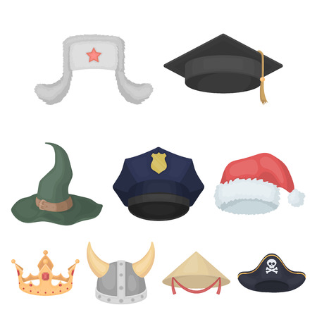 44cfb58d935 Hats set icons in cartoon style. Big collection of hats vector symbol stock  illustration