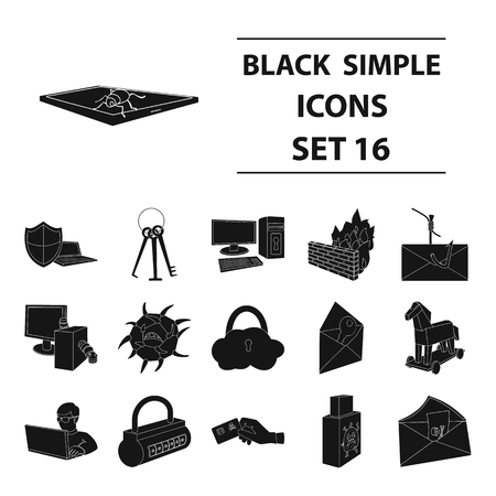 Hackers and hacking set icons in black style. Big collection of hackers and hacking vector symbol stock illustration Illustration