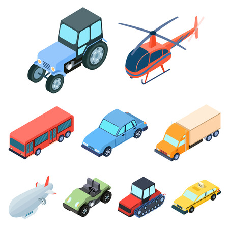 water bus: Land, water, air transport. Machines that people use. Illustration