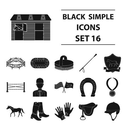 경마장 및 말 검은 스타일 아이콘을 설정합니다. 경마장과 말 벡터 기호 재고 일러스트의 큰 컬렉션 일러스트