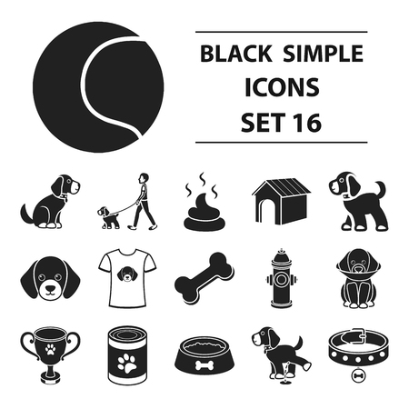Dog equipment set icons in black style. Big collection dog equipment vector symbol stock illustration