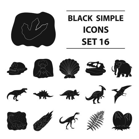 Dinosaurs and prehistoric set icons in black style. Illustration