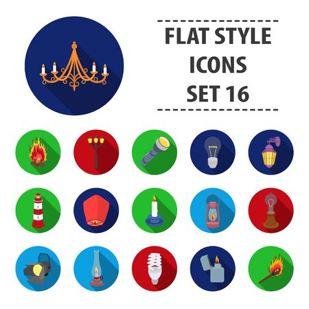 Light source set icons in flat style. Big collection of light source vector symbol stock illustration Illustration