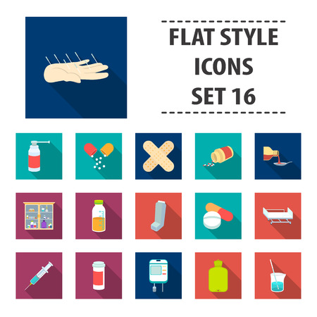 Medicine and hospital set icons in flat style. Big collection medicine and hospital vector symbol stock illustration