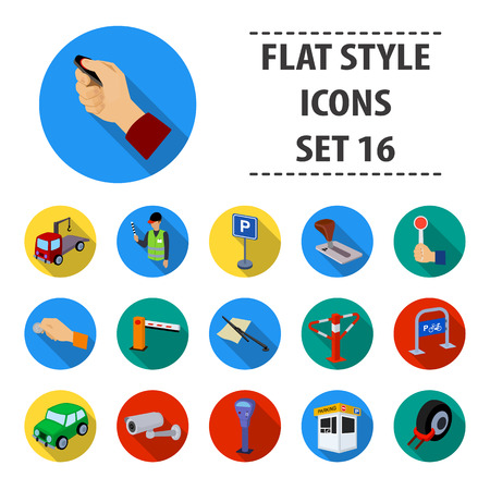 Parking zone set icons in flat style. Big collection of parking zone vector symbol stock illustration Illustration