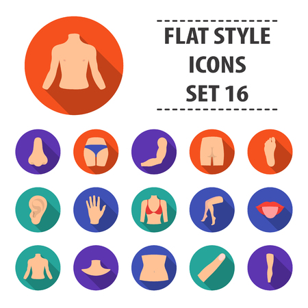 Part of body set icons in flat style. Big collection part of body vector symbol stock illustration