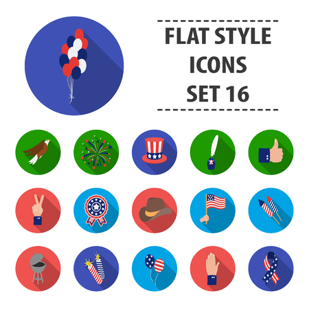 Patriot Day set icons in flat style. Big collection Patriot Day vector symbol stock illustration Illustration
