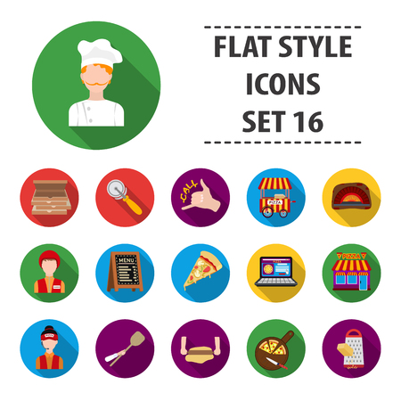 Pizza and pizzeria set icons in black style. Big collection of pizza and pizzeria vector symbol stock illustration