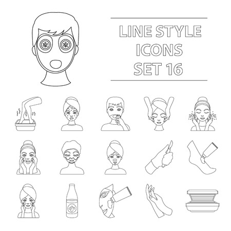 Icone di cura della pelle in stile contorno. Grande raccolta di vettore di cura illustrazione vettoriale simbolo