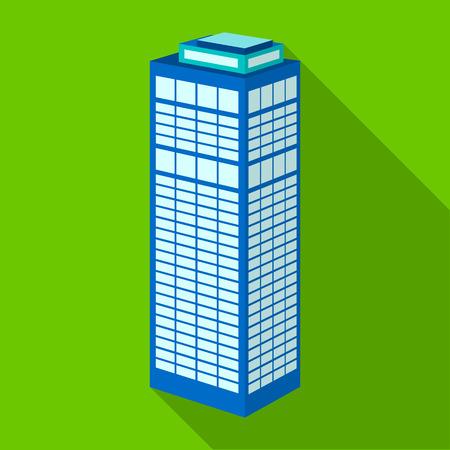 High-rise building of a skyscraper. Skyscraper single icon in flat style vector symbol stock illustration .