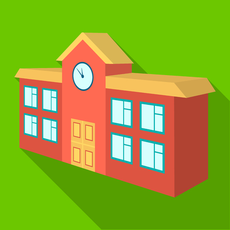 Architectural building of school, college. College single icon in flat style vector symbol stock illustration . Иллюстрация
