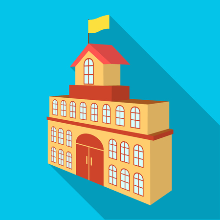 The building of the town hall. City Hall Building single icon in flat style vector symbol stock illustration . Иллюстрация